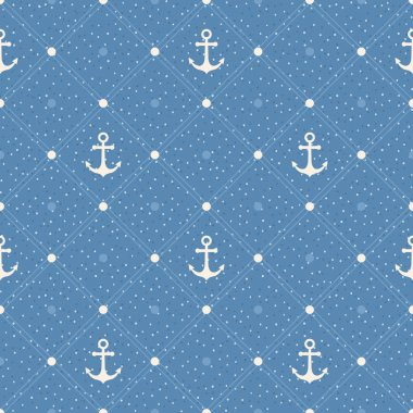 Vintage marine seamless pattern. Paper textured background. Polk
