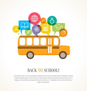 School bus with color speech bubbles and education icons. Concep
