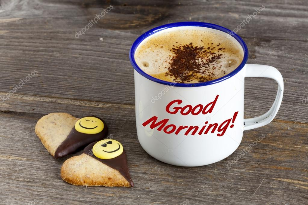 guten morgen mit kaffee und smiley cookies stockfoto tkphotography 41722349. Black Bedroom Furniture Sets. Home Design Ideas