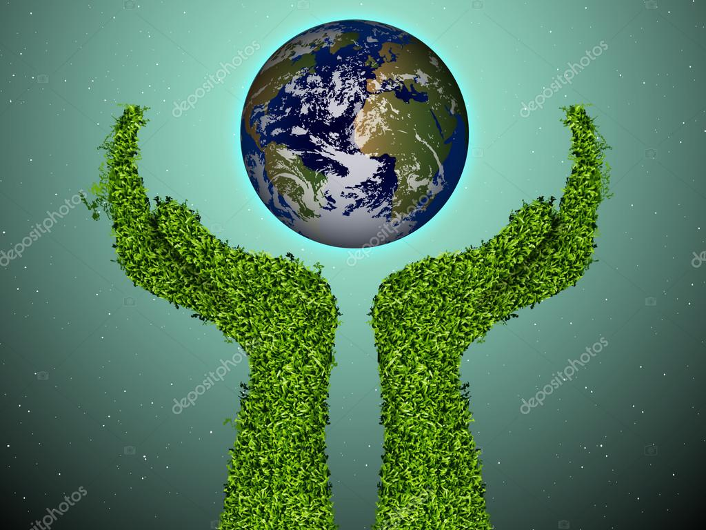 Caring for the environment, arms out of the grass with a green globe. The concept of ecology