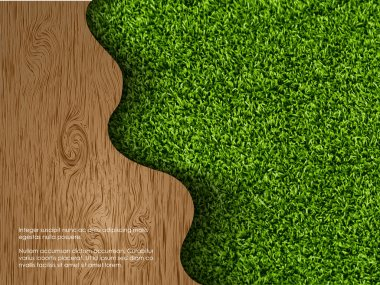 Ecological concept of grass with wood