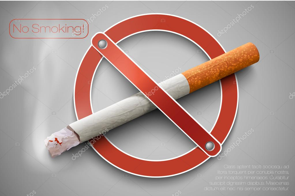 3D no smoking sign with a realistic cigarette