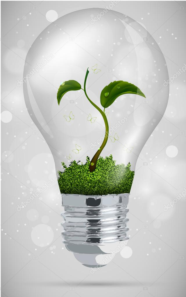 Green sprout in the bulb. the concept of clean energy
