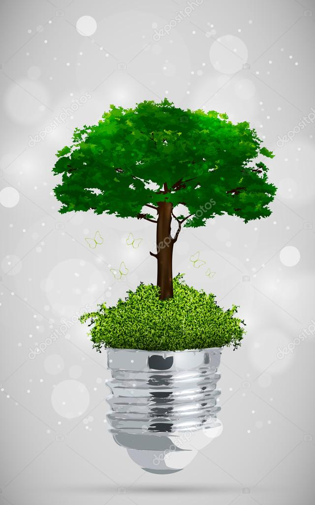 Green tree in light bulb. the concept of clean energy