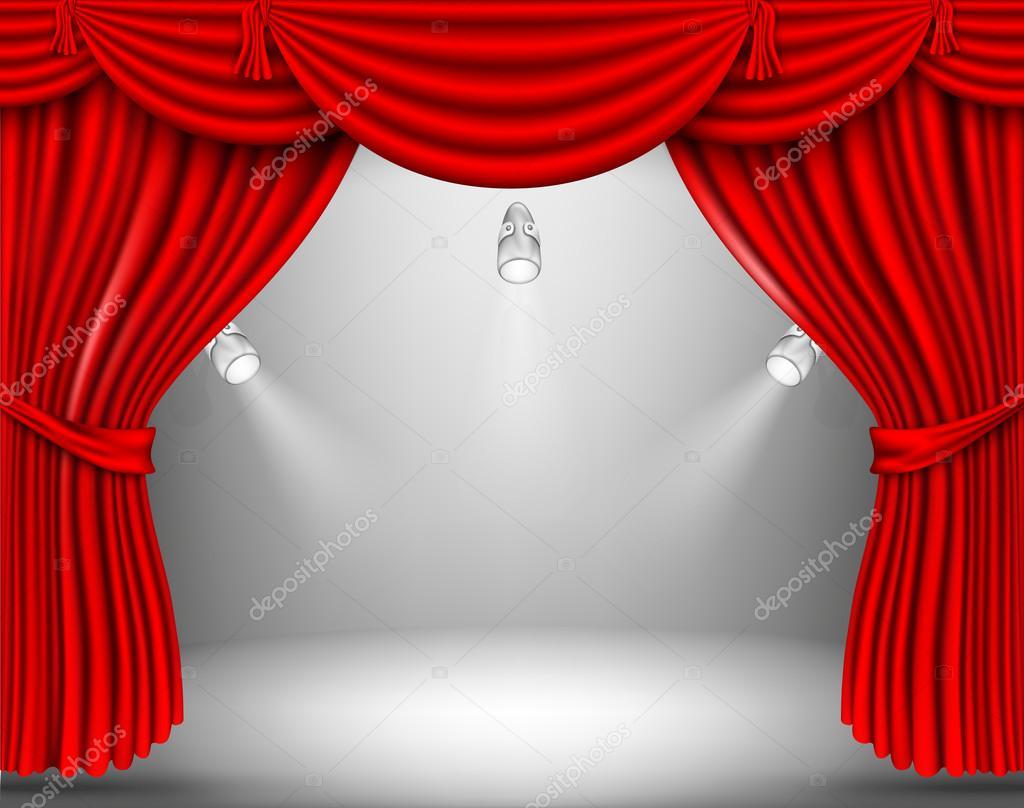 Vorhang Theater Galerie : Galerie mit leeren rahmen und roten vorhang u stockvektor