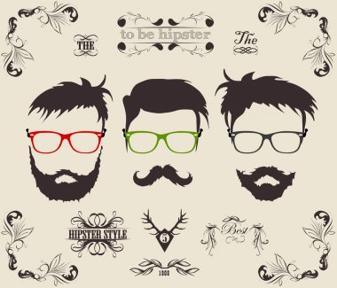 Vector set. hair, mustache, beard