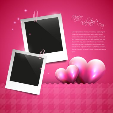Valentine pink background with photo frames clip art vector