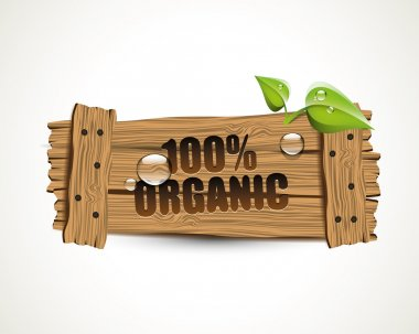 100 percent Organic - wooden icon