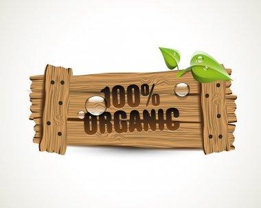 100 percent Organic - wooden icon