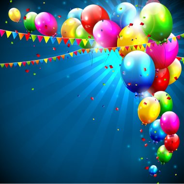 Colorful birthday balloons on blue background stock vector