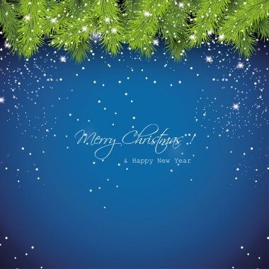 Christmas blue snowy background