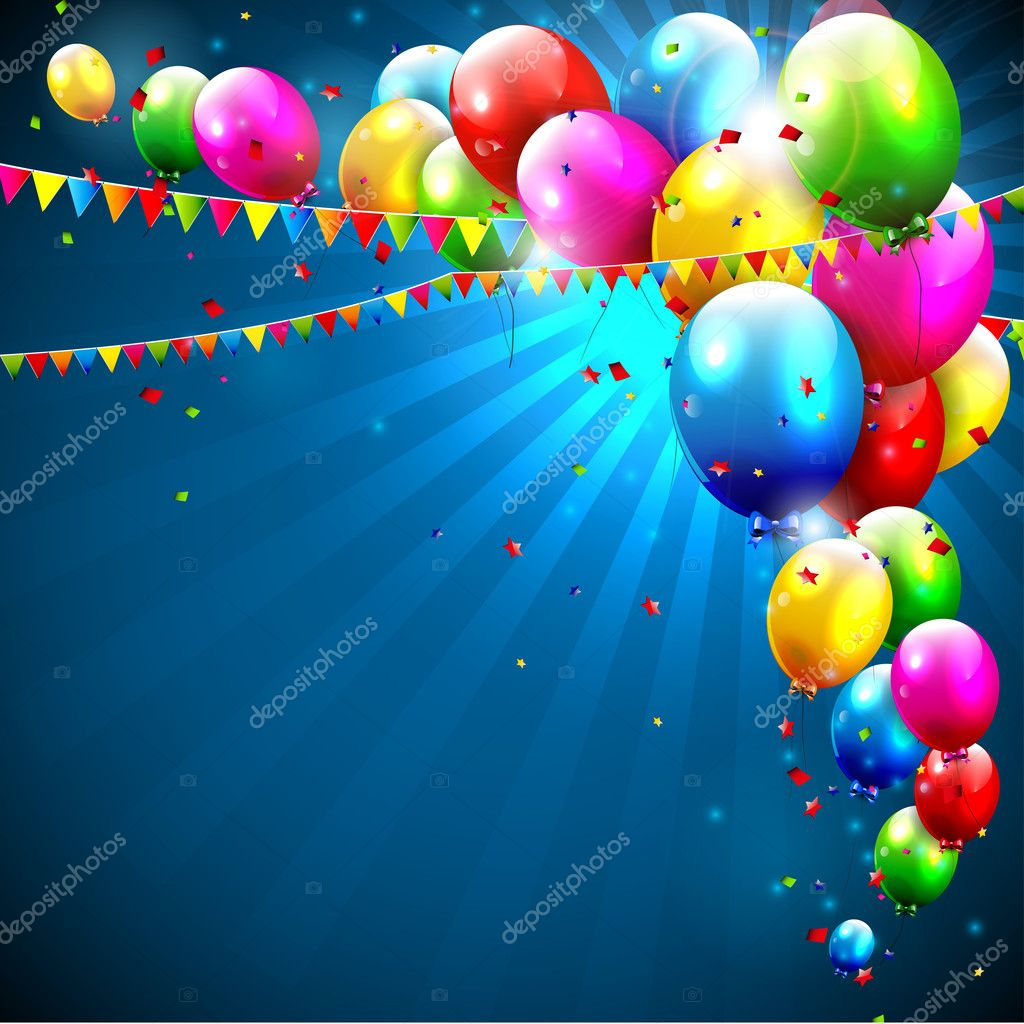 Colorful birthday balloons on blue background