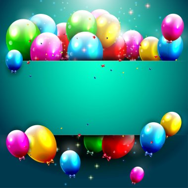 Luxury birthday background with colorful balloons and copyspac stock vector