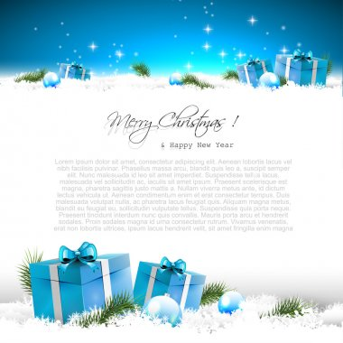 Blue Christmas greeting card with gift boxes and branches in snow and with place for text stock vector