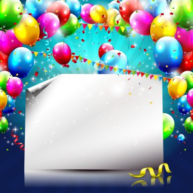 Colorful birthday background with balloons and empty paper stock vector