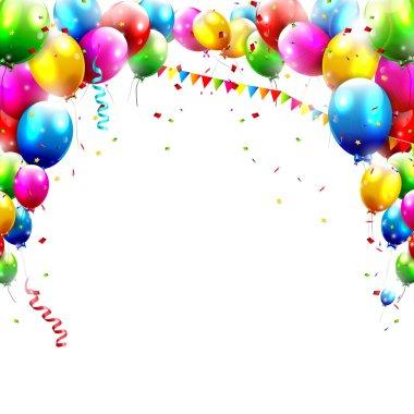 Coloful birthday balloons isolated on white backgroun stock vector