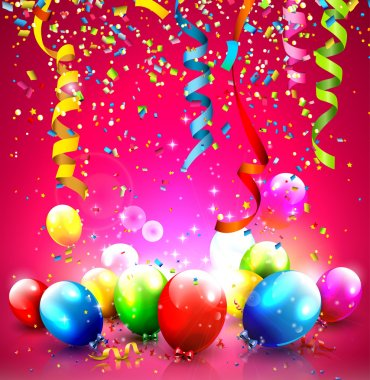 Birthday background with colorful balloons and confetti clip art vector