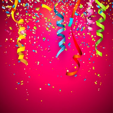 Colorful confetti on red background stock vector