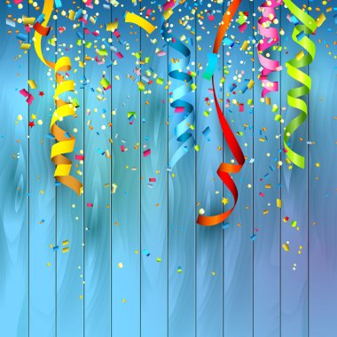 Colorful confetti on wooden background stock vector