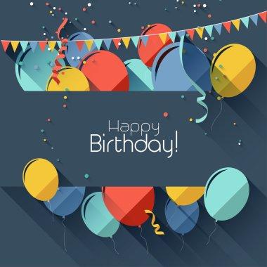 Modern birthday background in flat design style clip art vector
