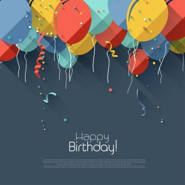 Colorful birthday background in flat design styl stock vector