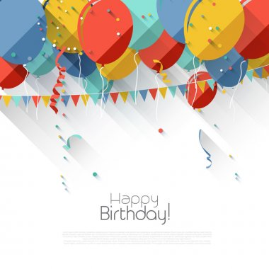 Colorful birthday background with flying balloons and copyspace in flat design style clip art vector