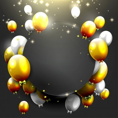 Luxury background with gold and silver balloons on black background stock vector