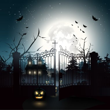 Scary graveyard in the woods - Halloween background stock vector