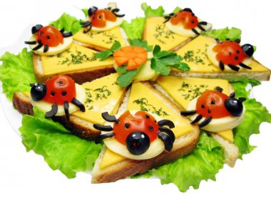 Creative vegetable sandwich with cheese