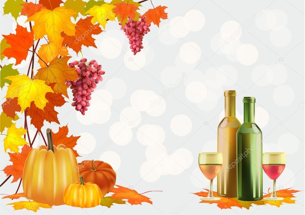 Autumn , postcard .Ripe grapes, wine glass and bottle wine .