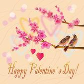 Love birds, sakura, spring, Valentines Day.