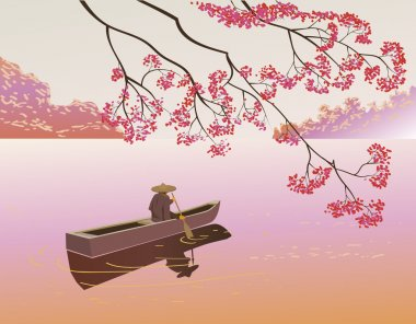 Sakura . A lone boatman, floats on the the lake in the