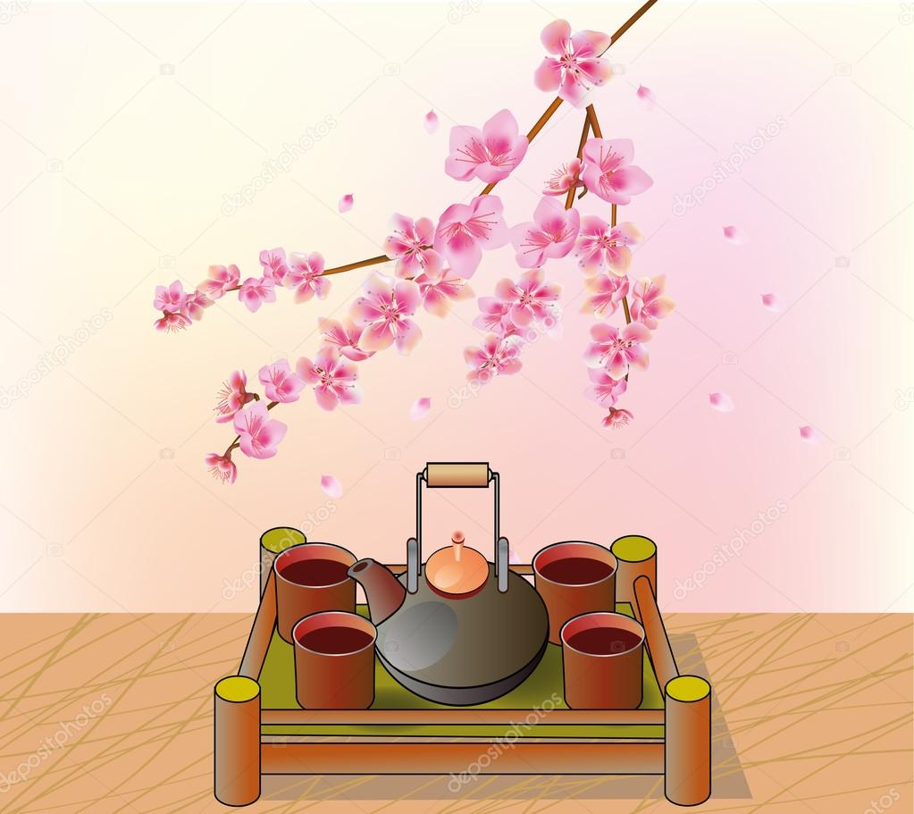Sakura . Tea ceremony.Menu