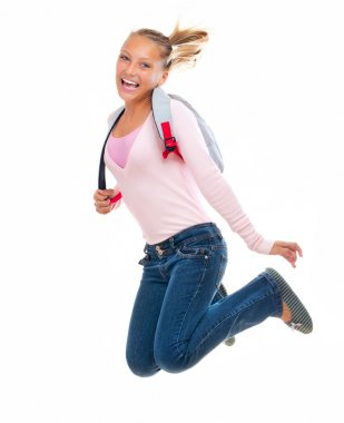 Back To School. Happy and Smiling High School Student Jumping