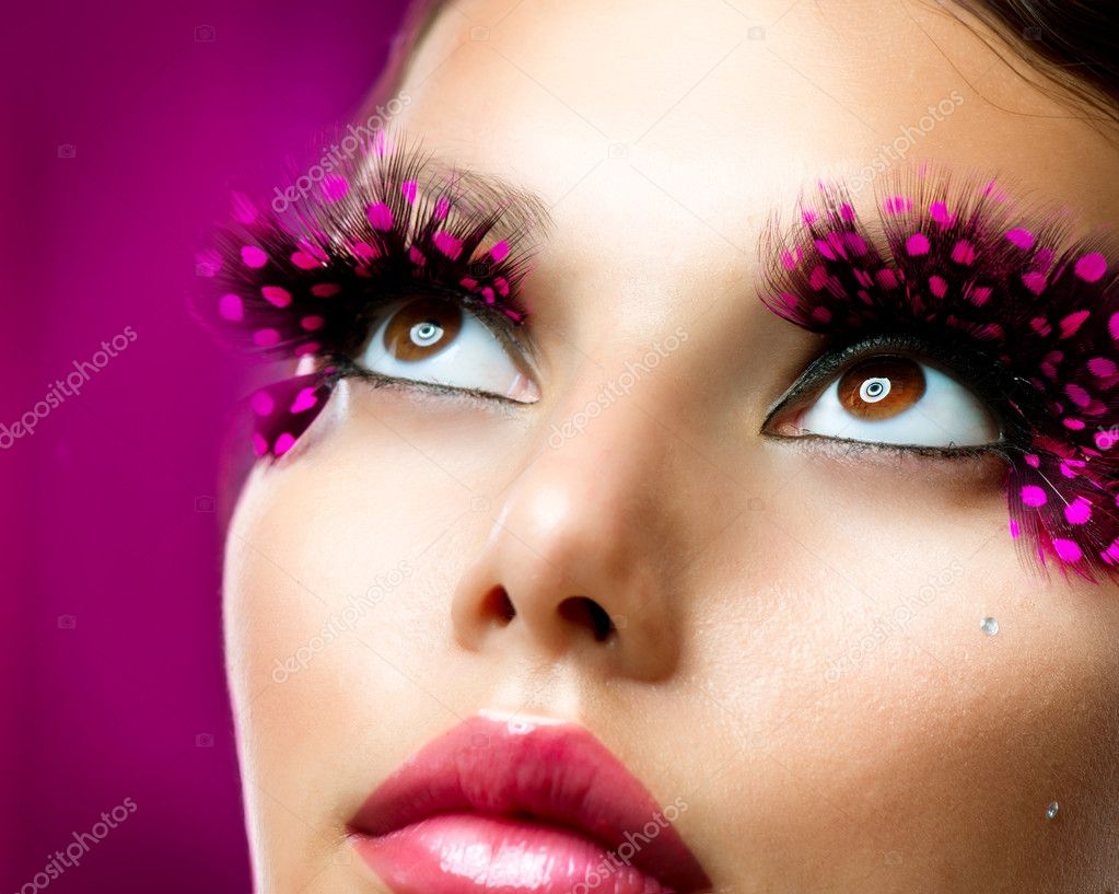 Creative Makeup. False eyelashes — Stock Photo © Subbotina ...