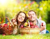 Pár relaxování v trávě a jíst jablka v podzimní zahradě