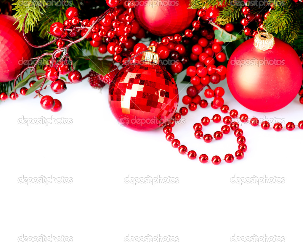 Christmas and new year baubles and decorations border for Where can i find christmas decorations