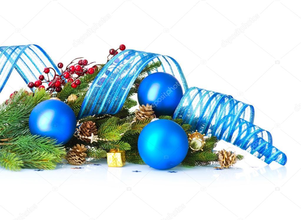 Weihnachten Und Neujahr Blaue Kugeln Und Dekoration