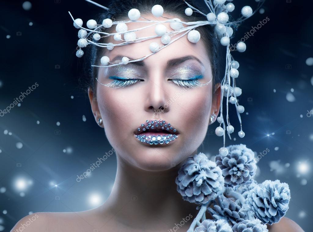 Femme de beauté hiver. maquillage de fille de Noël \u2014 Image de Subbotina