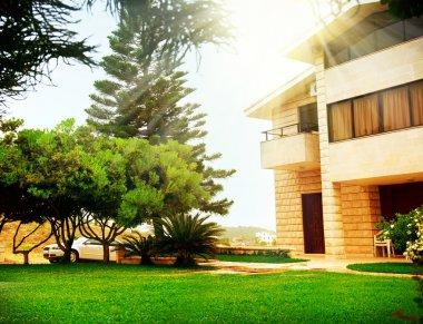 Beautiful Modern House Exterior Real Estate Concept stock vector