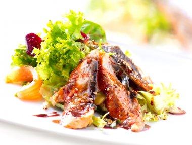 Salad With Smoked Eel with Unagi Sauce