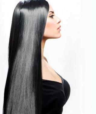 Beauty Girl with Long Straight Black Healthy Hair stock vector