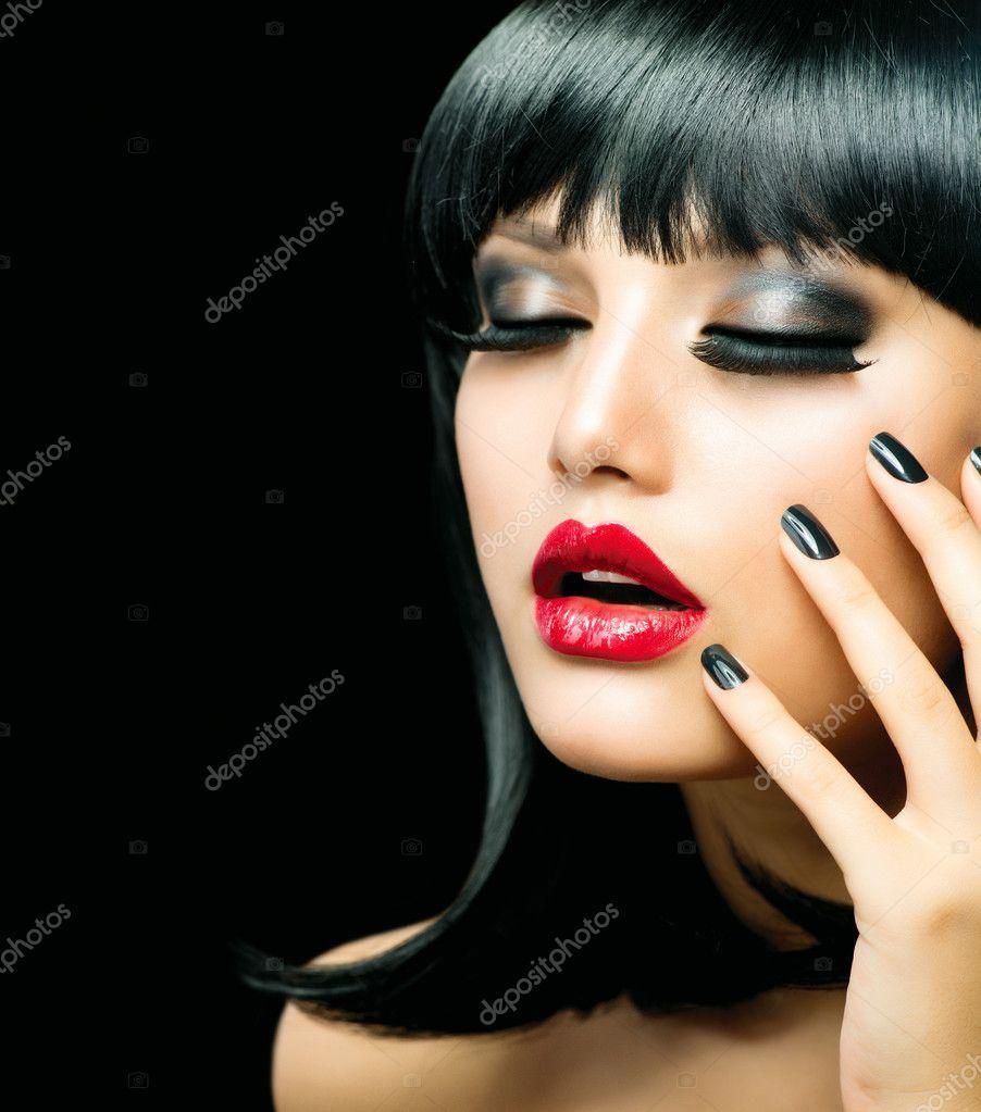 Fashion Girl Closeup. Red Lips And Black Nails — Stock Photo ...
