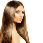 Fotografie Schönheit Frau mit langen gesunden und glänzenden glatten braunen Haaren