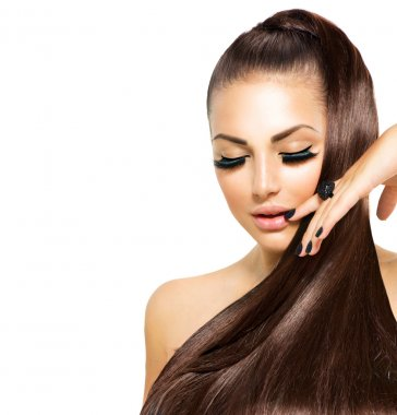 Beauty Fashion Girl with Long Hair. Trendy Caviar Black Manicure