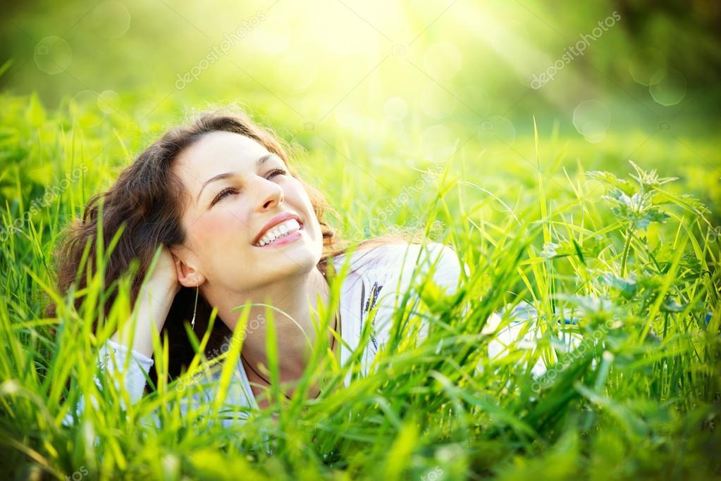 Young Woman Outdoors. Enjoy Nature