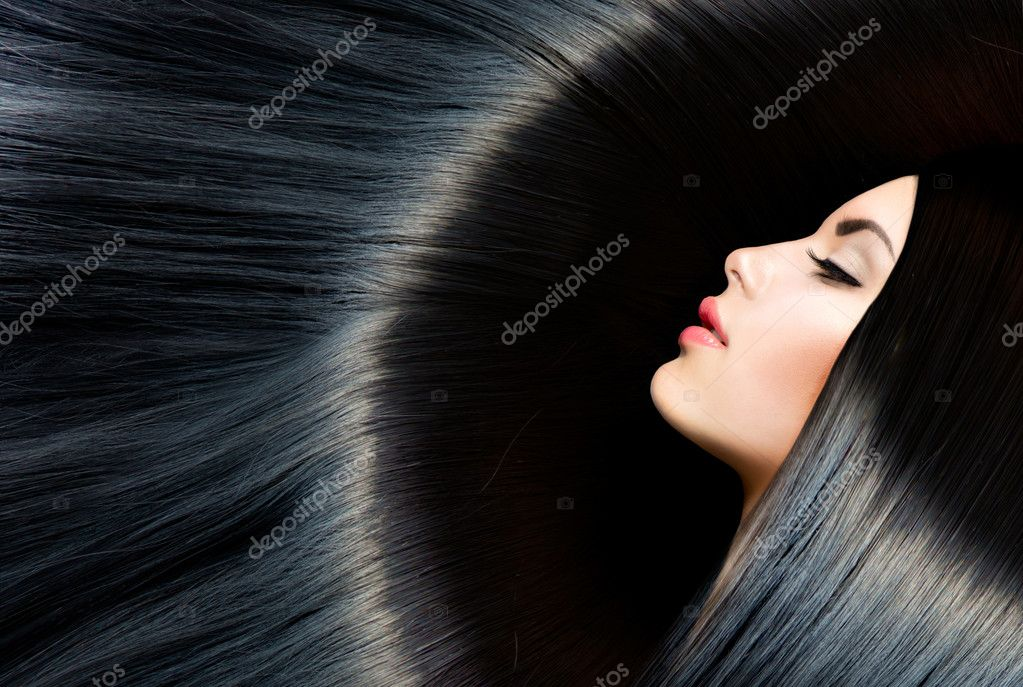 Healthy Long Black Hair. Beauty Brunette Woman