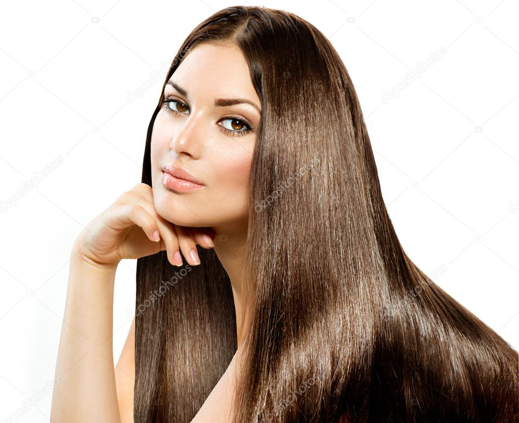 Long Straight Hair. Beautiful Brunette Girl isolated on white