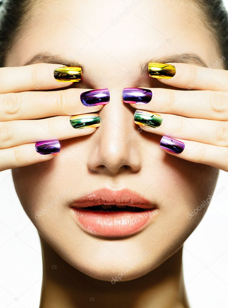 Manicure and Make-up. Nail art. Beauty Woman With Colorful Nails ...