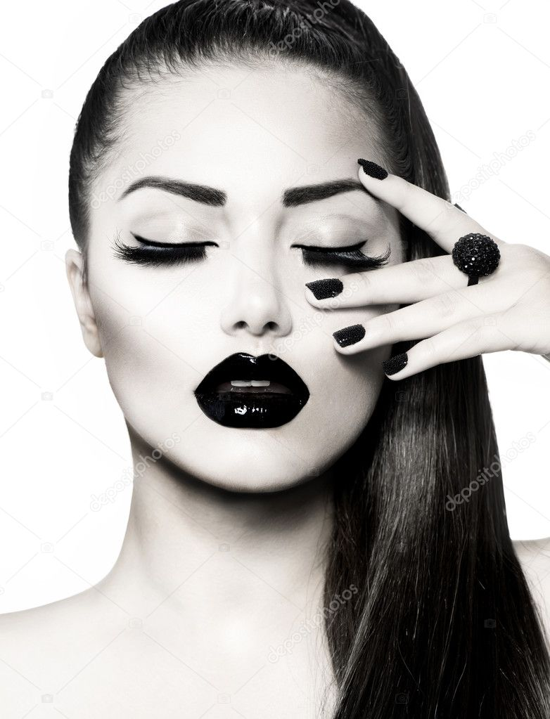 Black and White Brunette Girl Portrait. Trendy Caviar Manicure